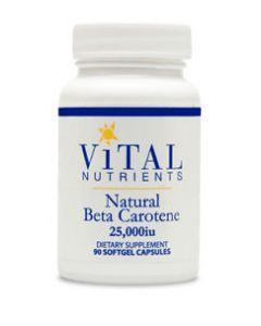 Natural Beta Carotene 25000 IU 90 sgels by Vital Nutrients